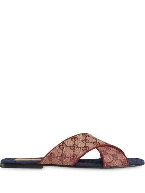 Gucci Suede-Trimmed Monogrammed Canvas Slides In 9865 Gg Beige