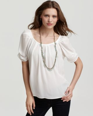 Joie Eleanor Gathered Silk Blouse In Porcelain