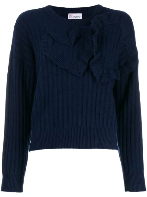 Red Valentino Heart Detailed Jumper In Blue