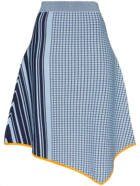 I Am Chen I-am-chen Check And Stripe Knitted Asymmetric Skirt In Blue