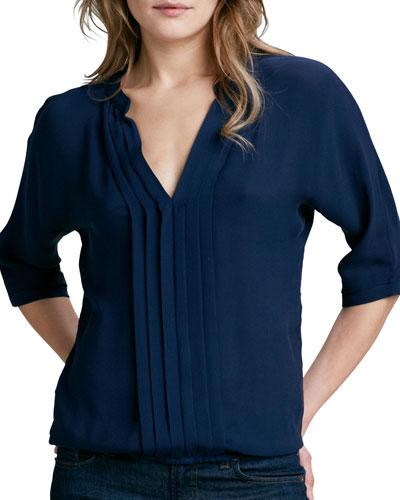 Joie 'Marru' Semi-Sheer Silk Blouse In Dark Navy