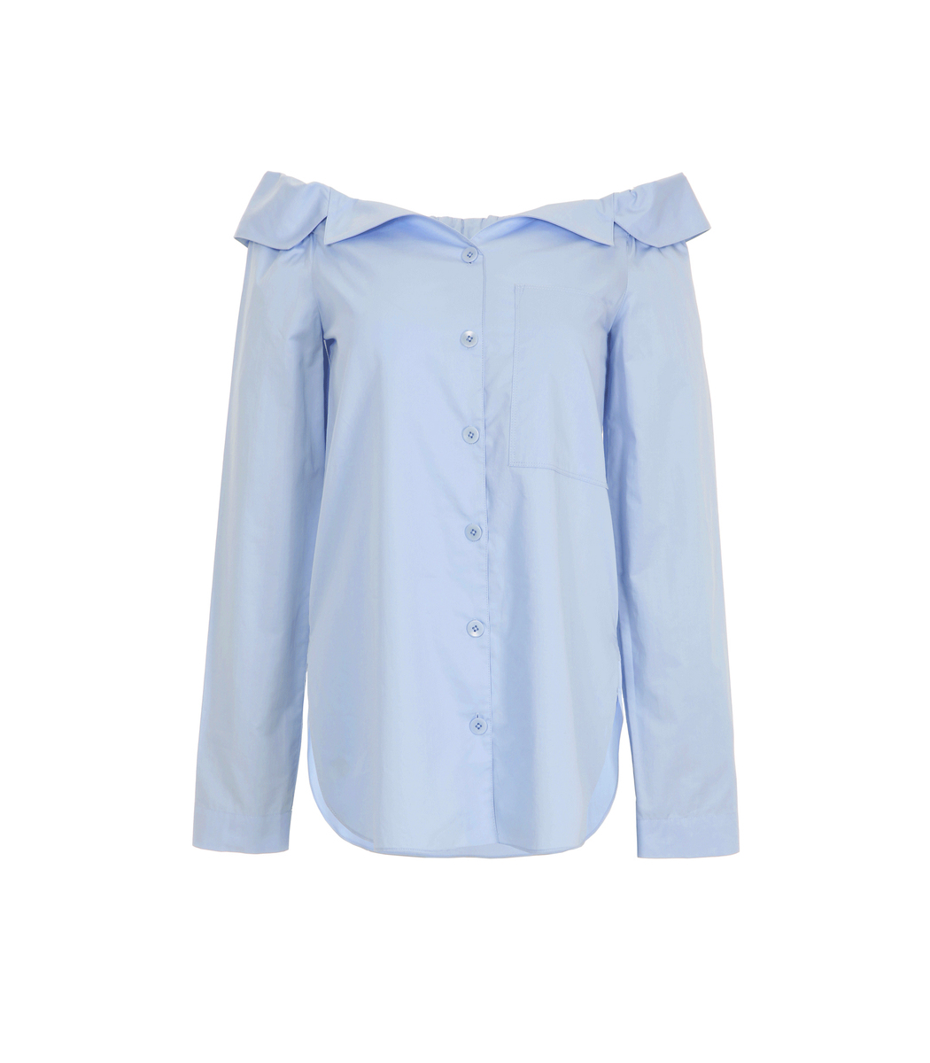 Tibi Off-The-Shoulder Button-Through Cotton Top In Morning Blue
