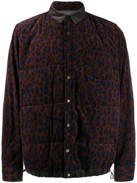Sacai Leopard Print Padded Jacket In 701 Brown Multi