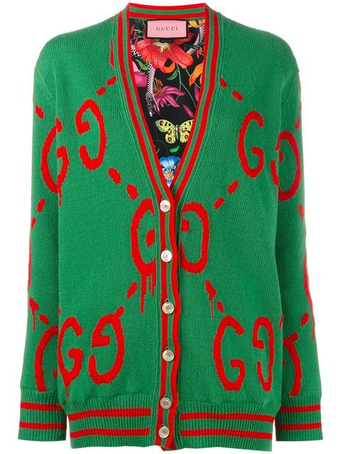 aa847b8c1d53e9 Gucci Reversible Wool-Jacquard And Printed Silk-Twill Cardigan In Green