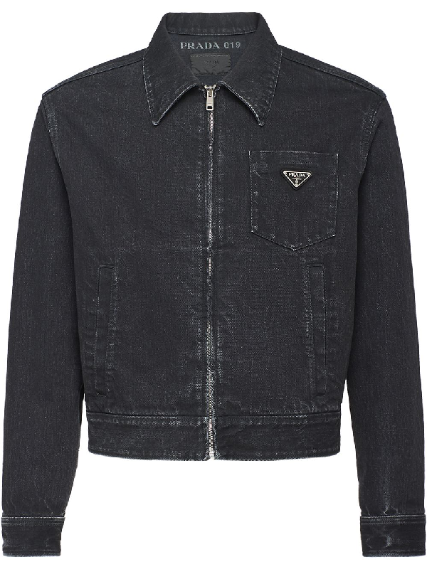 Prada Washed Denim Jacket In Black