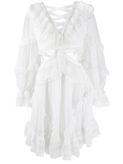 Zimmermann Cut-out Ruffled Dress In White