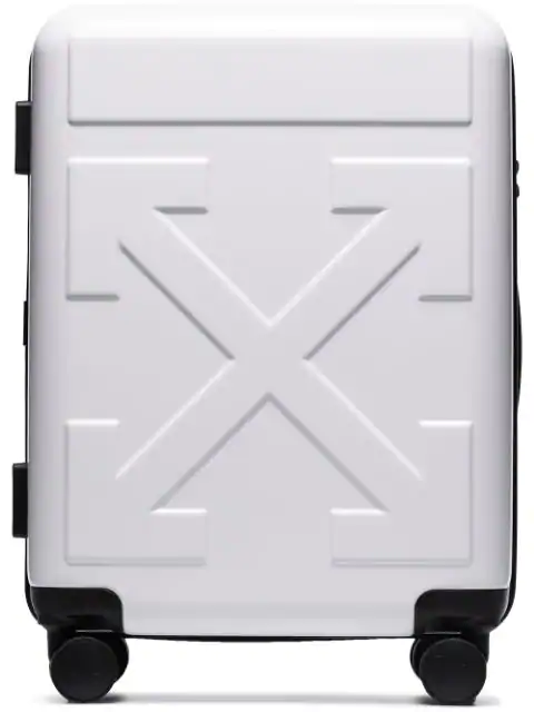 """Off-White Small Tech """"For Travel"""" Arrow Trolley In White"""