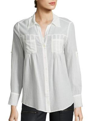 Joie Pinot Rolled-Sleeve Blouse, Porcelain