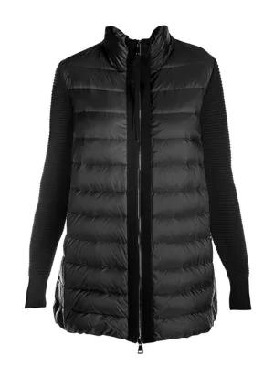 Moncler Women's Long Down Knit Combo Jacket In Black
