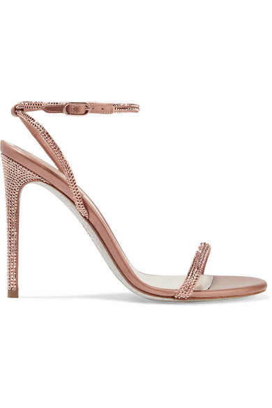 6914437bb77a6 RenÉ Caovilla Crystal-Embellished Satin And Metallic Leather Sandals In  Antique Rose