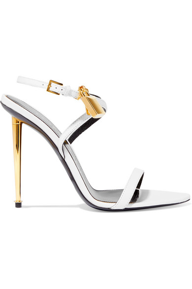 Tom Ford Padlock Embellished Leather Sandals In White
