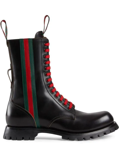 Gucci Men's Black Leather Boots With Web