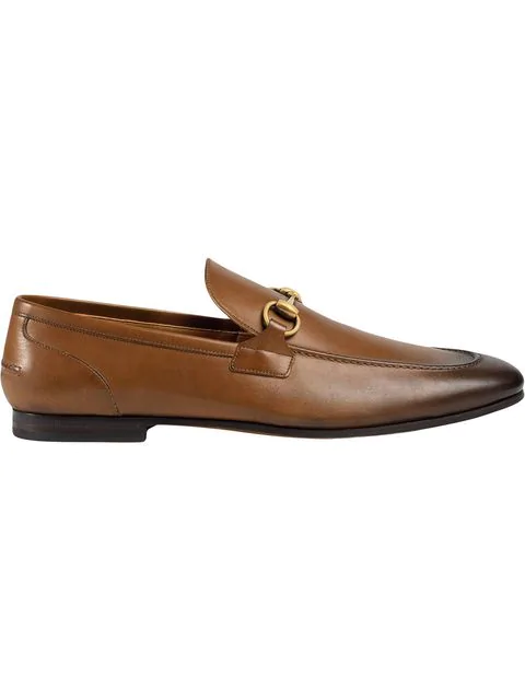 Gucci Loafers Jordaan  Calfskin Horsebit-Detail Logo Brown