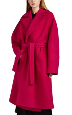Balenciaga Oversized Camel Hair Blend Coat In Pink