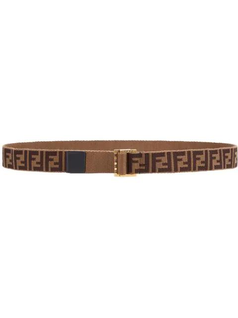 Fendi Ff Logo Jacquard Belt In F147Y-Mud+ Brown +Vintage