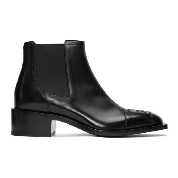 Fendi Leather Chelsea Boots W/logo Embroidery In F1os5 Black