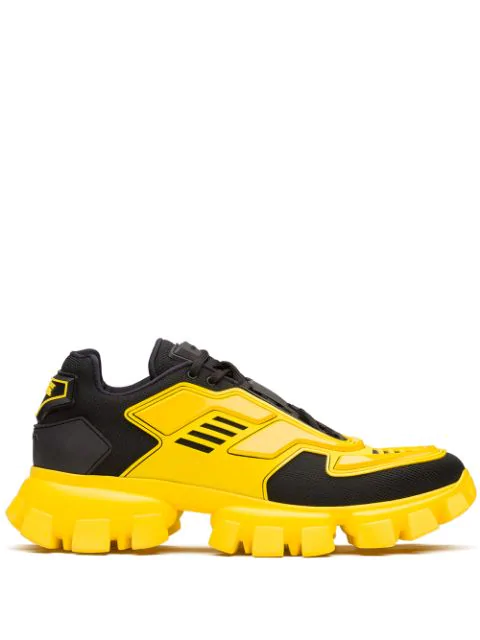 Prada Men's Cloudbust Thunder Lug-sole Trainer Sneakers In F0c5z Nero+giallo