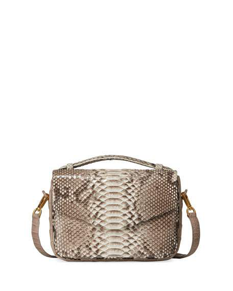 Nancy Gonzalez Small Soft Python Crossbody Bag In Neutral