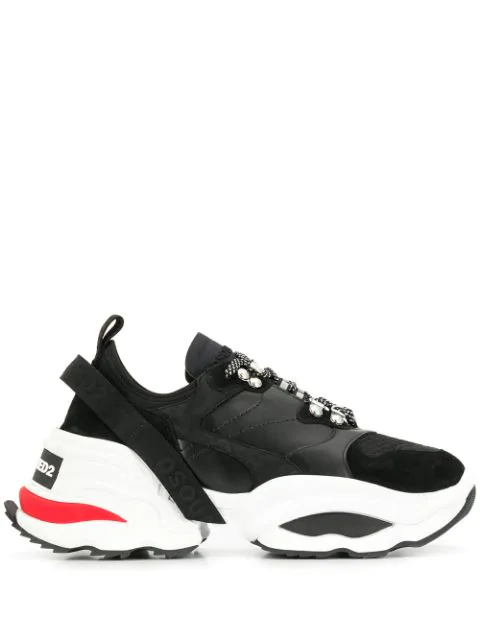 Dsquared2 The Giant K2 Mesh, Calf Leather And Neoprene Men's Sneakers In Black