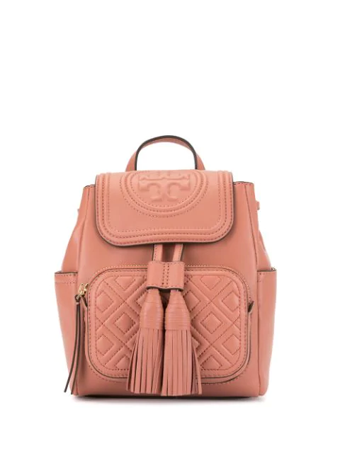 Tory Burch Fleming Mini Leather Backpack In 235 Tramonto