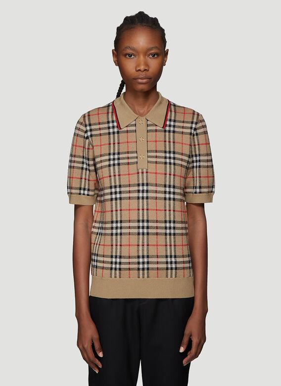 Burberry Poloshirt Aus Merinowolle Mit Vintage Check-Muster In Beige