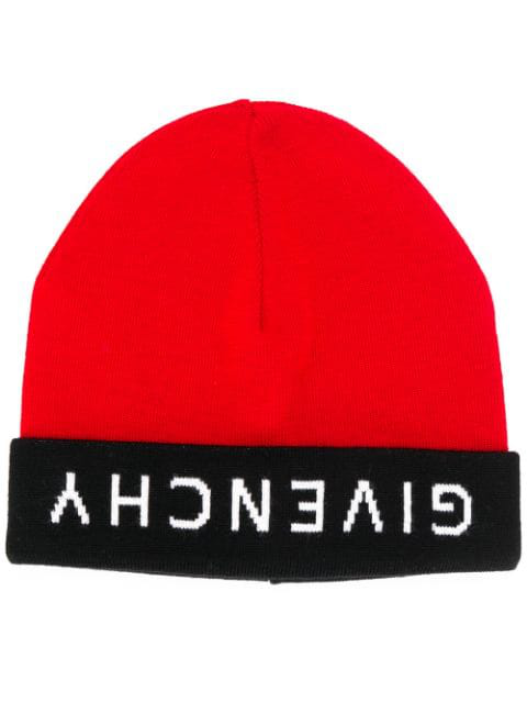 Givenchy Reverse Logo Beanie In Red