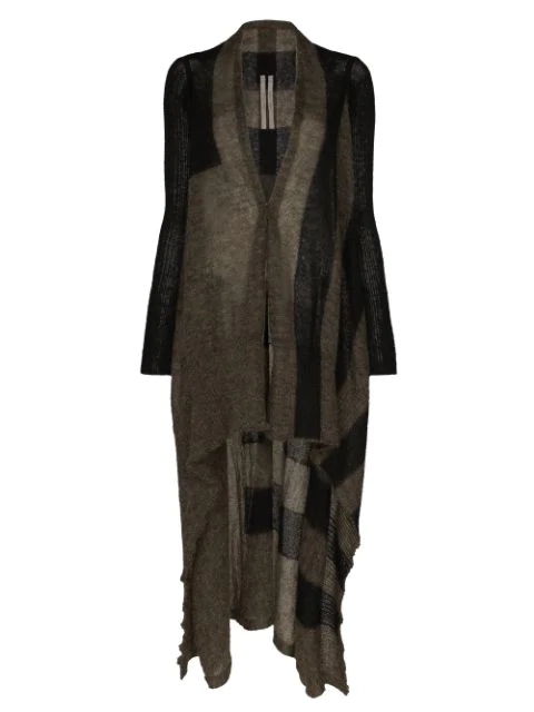 Rick Owens Block - Striped Open-Knit Long Cardigan In Brown