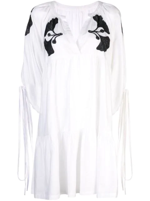 Cynthia Rowley Penelope Embroidered Dress In Whtbl - White/black