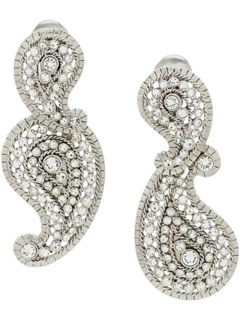 Oscar De La Renta Crystal-embellished Pendant Clip-on Earrings In Silver