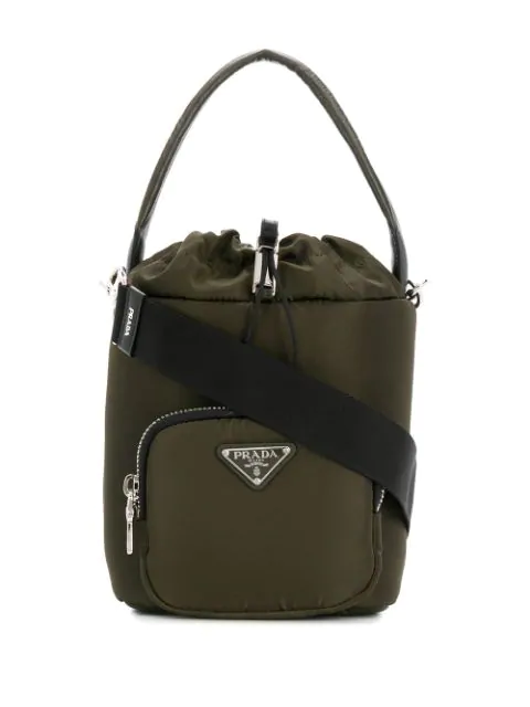 Prada Nylon Drawstring Bucket Bag In Green