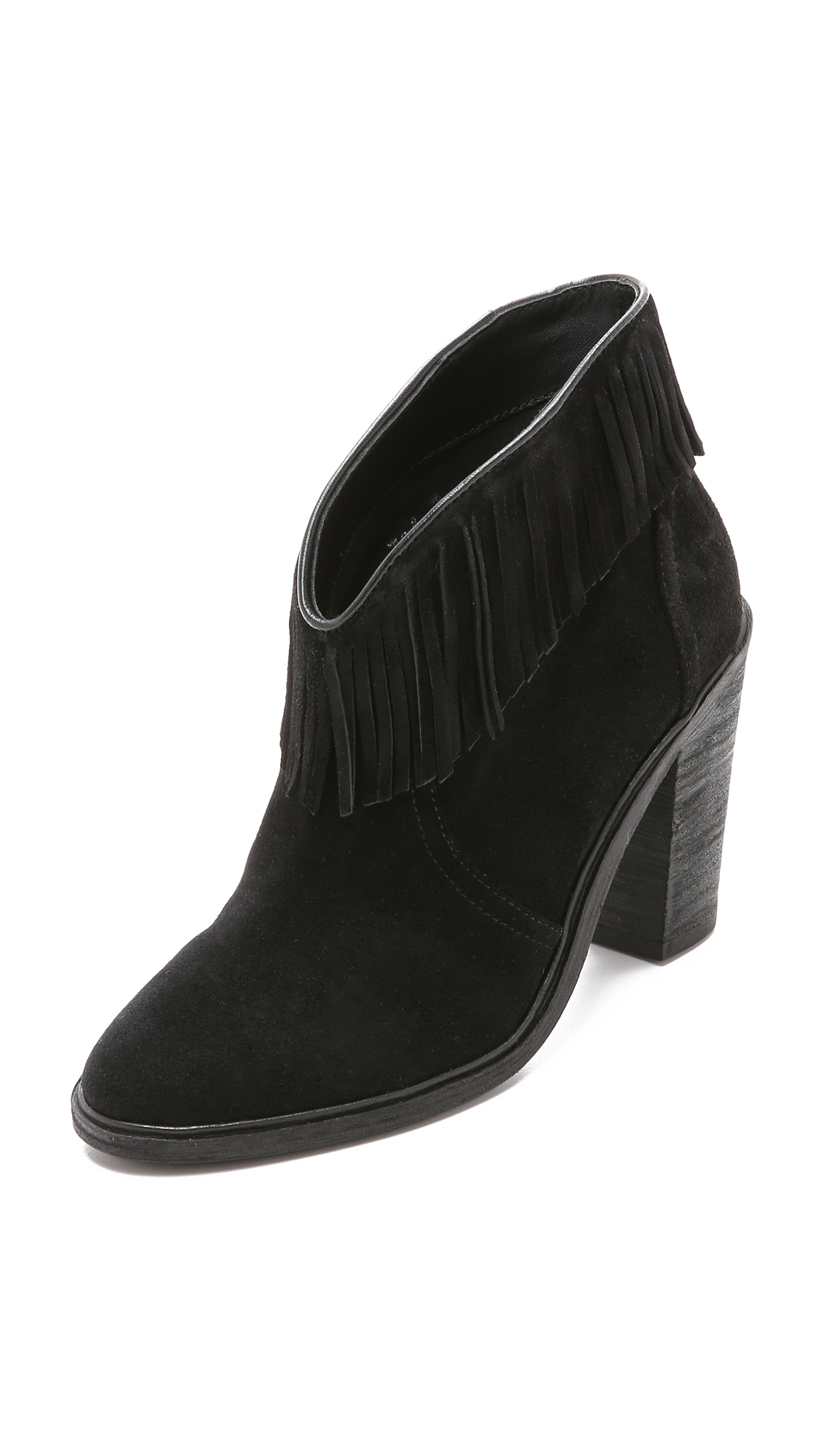 Joie Loren Fringe-Trim Suede Booties In Black;Mousse