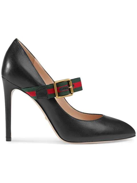Gucci Sylvie Leather Mid-Heel Pumps In Black