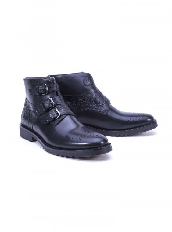 Robert Graham Men's Wilkes Leather Boot In Black Size: 13 By