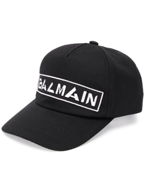 Balmain Men's Badges Embroidered Logo Baseball Cap In Black