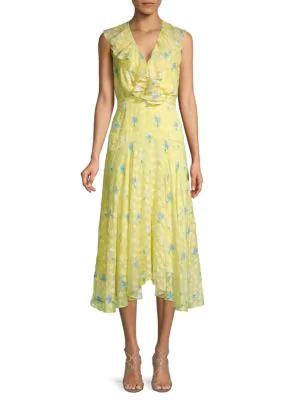 Saloni Silk Blend Ruffled Floral Midi Dress In Light Yellow