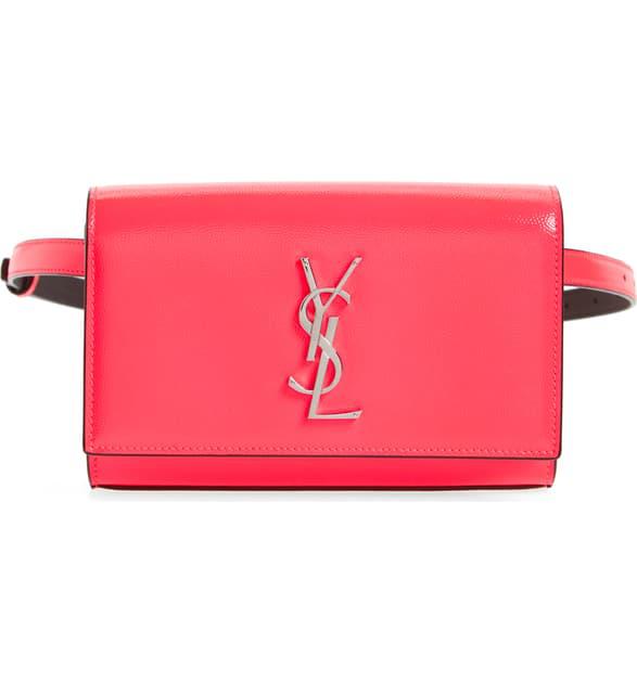Saint Laurent Kate Ysl Monogram Neon Belt Bag In Neon Pink