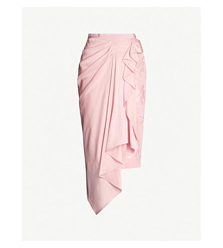 Alexander Mcqueen Asymmetric Draped Silk Midi Skirt In Sugar Pink
