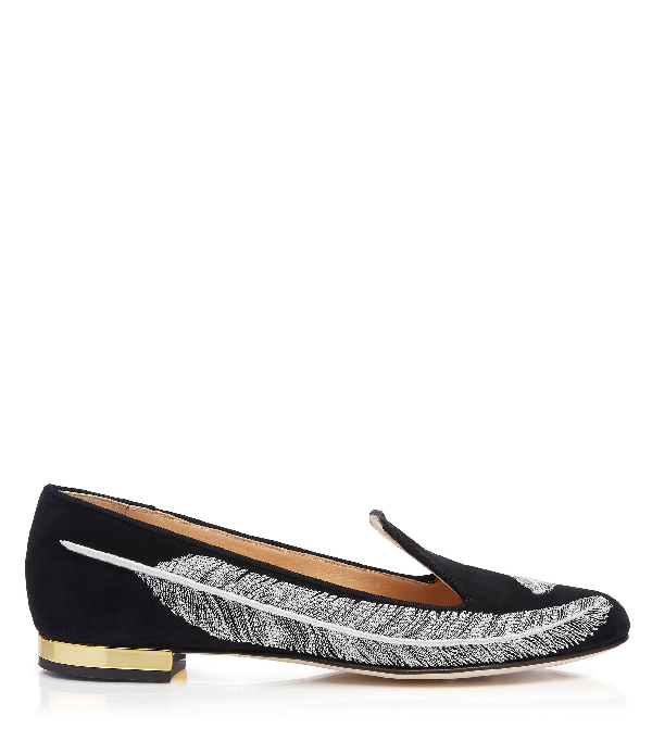 Charlotte Olympia Women's Darcy Embroidered Slip-On Flats In Black