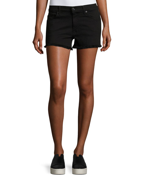 7 For All Mankind Cutoff Unfinished-Hem Denim Shorts In Black