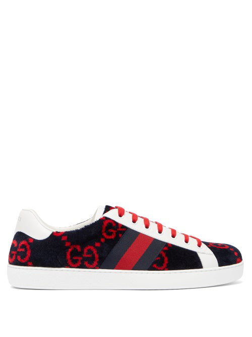 Gucci Ace Leather-Trimmed Logo-Print Terry Sneakers In Navy Multi