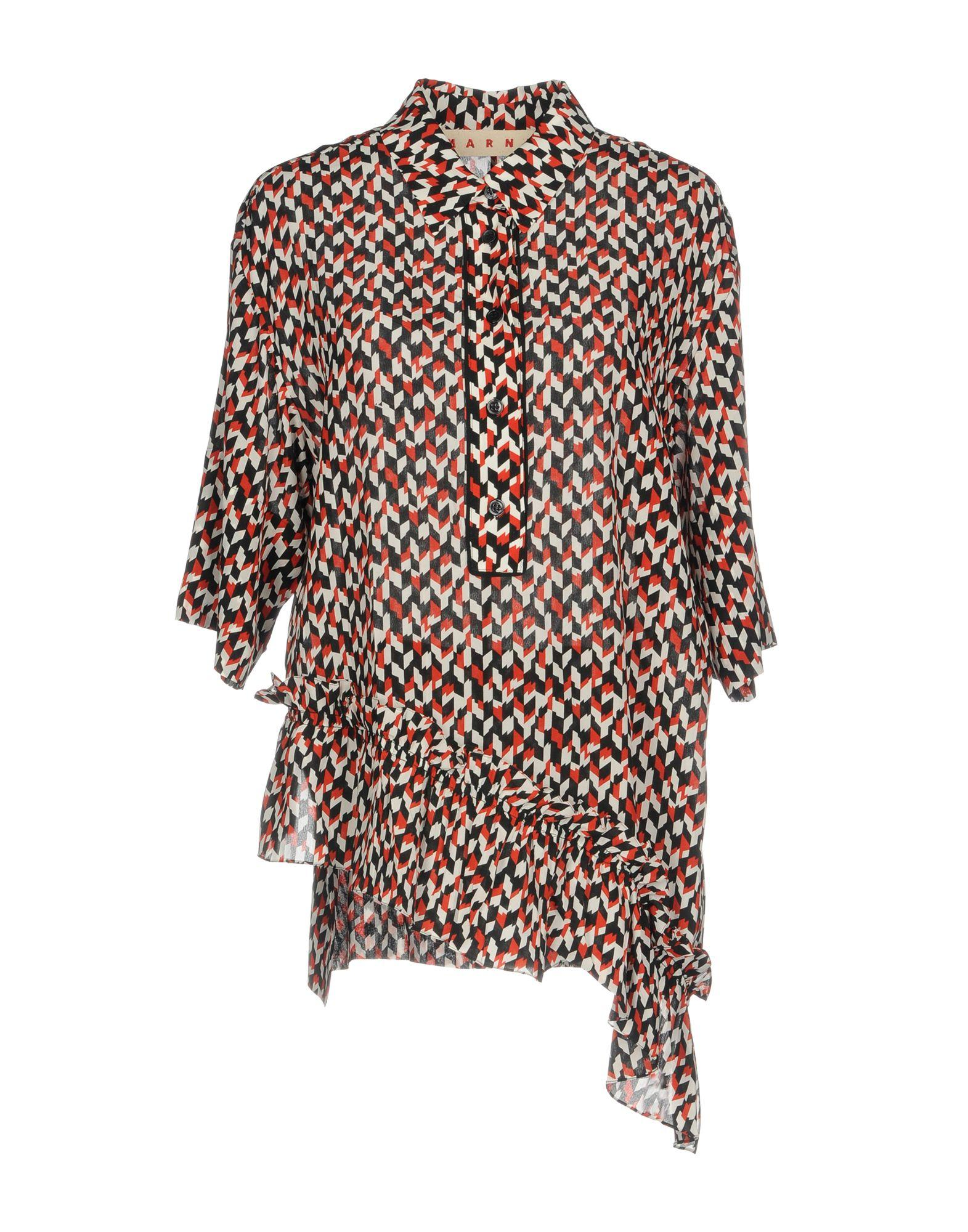 Marni Printed Silk Blouse In Poppy Red