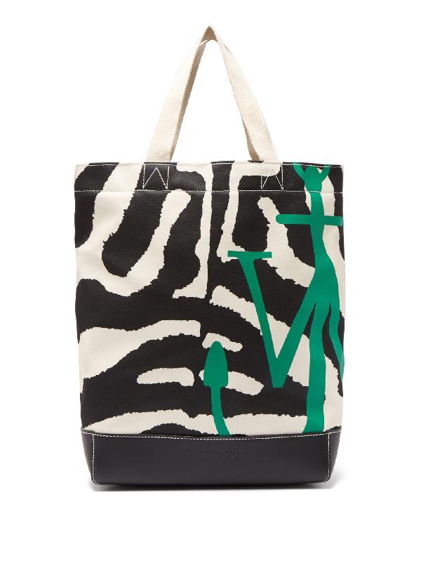 Jw Anderson Zebra And Leopard-print Canvas Tote Bag In Black White