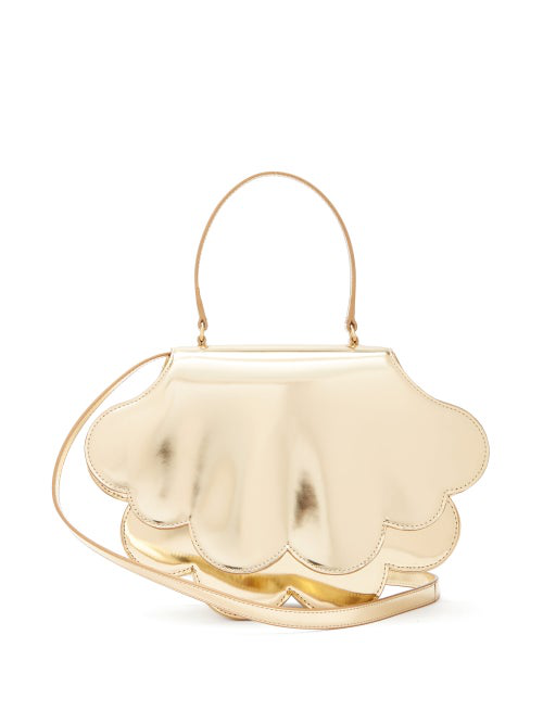 Simone Rocha Flower Bean Patent-Leather Clutch Bag In Gold