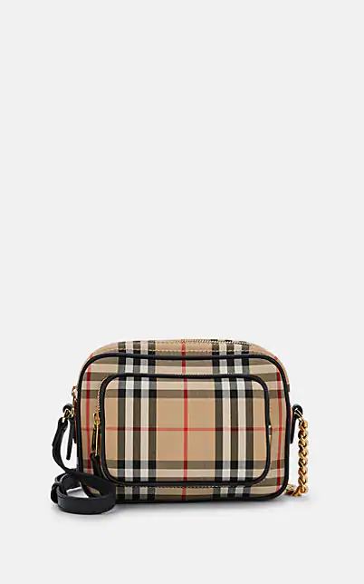 Burberry Vintage-Checked Cotton Canvas Camera Bag - Natural
