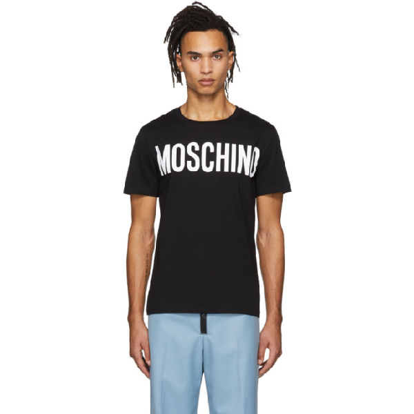 Moschino Logo Printed Cotton Jersey T-Shirt In A1555 Black