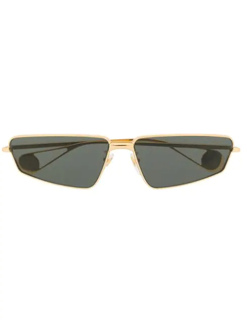 Gucci Rectangular Frame Sunglasses In Gold