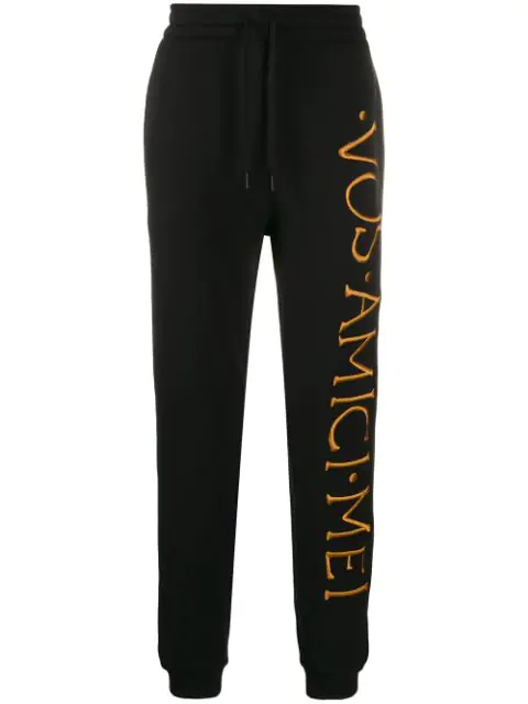 Moschino Roman Embroidery Wool And Cotton Jogging In Black