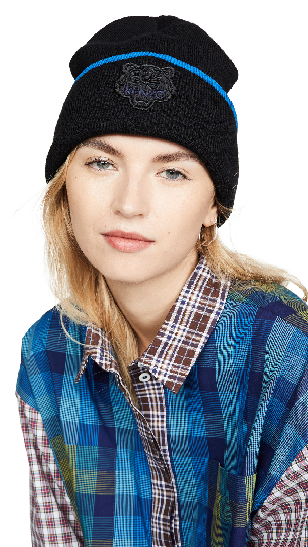 Kenzo Tiger Logo Wool Blend Beanie - Black