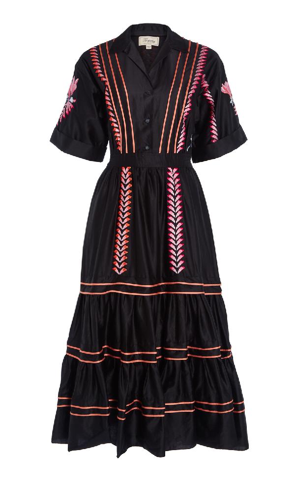 Temperley London Cherry Blossom Dress In Black