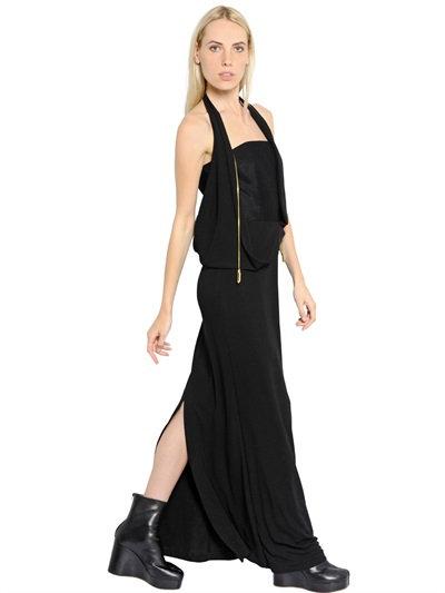 Maison Margiela Viscose Crepe Jersey Dress In Black